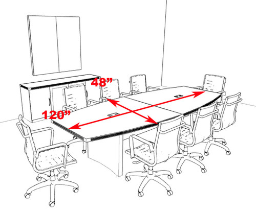 Modern Contemporary Boat Shaped 10' Feet Conference Table, #RO-ABD-C8