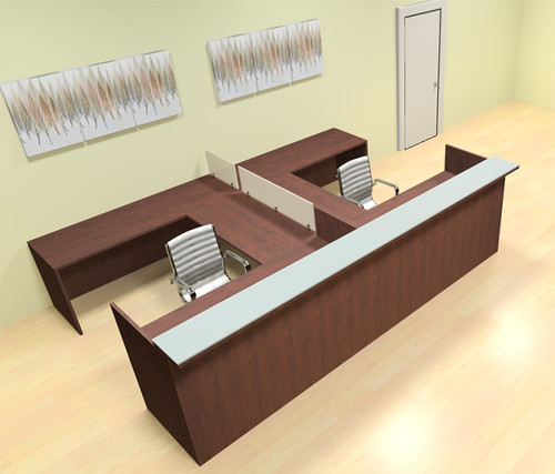 8pc 12' Feet U Shaped Glass Counter Divider Reception Desk Set, #CH-AMB-R16