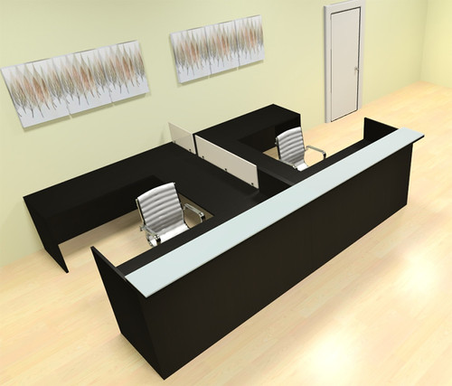 8pc 12' Feet U Shaped Glass Counter Divider Reception Desk Set, #CH-AMB-R18