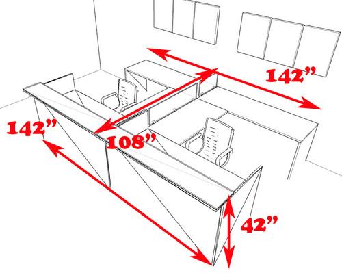 8pc 12' Feet U Shaped Glass Divider Counter Reception Desk Set, #CH-AMB-R18
