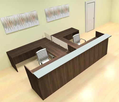 8pc 12' Feet U Shaped Glass Counter Divider Reception Desk Set, #CH-AMB-R19