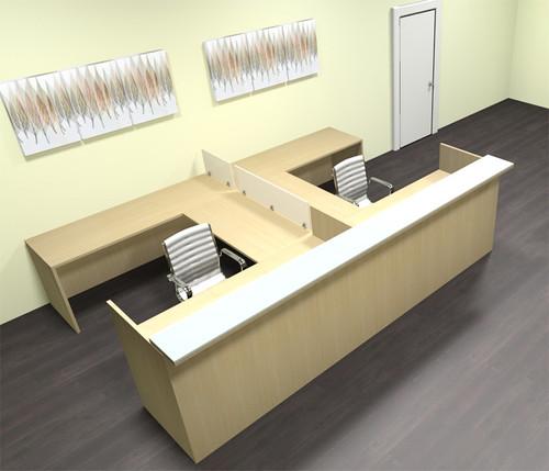 8pc 12' Feet U Shaped Glass Counter Divider Reception Desk Set, #CH-AMB-R20