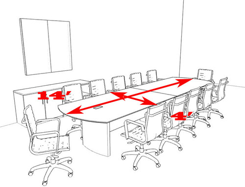 Modern Contemporary 14' Feet Conference Table, #MT-MED-C20