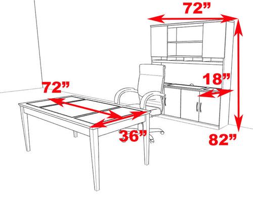 3pc Traditional Rectangular Modern Executive Office Desk Set, #RO-SOR-D13