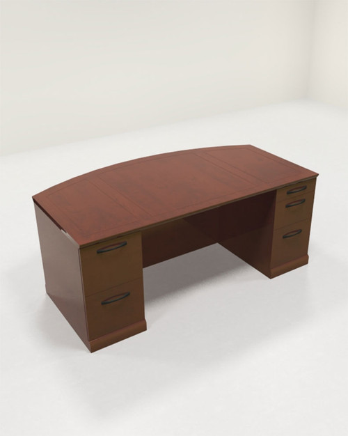 3pc Traditional Bow Front Modern Executive Office Desk Set, #RO-SOR-D3