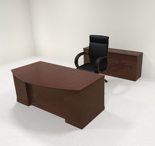 4pc Traditional Bow Front Modern Executive Office Desk Set, #RO-SOR-D7