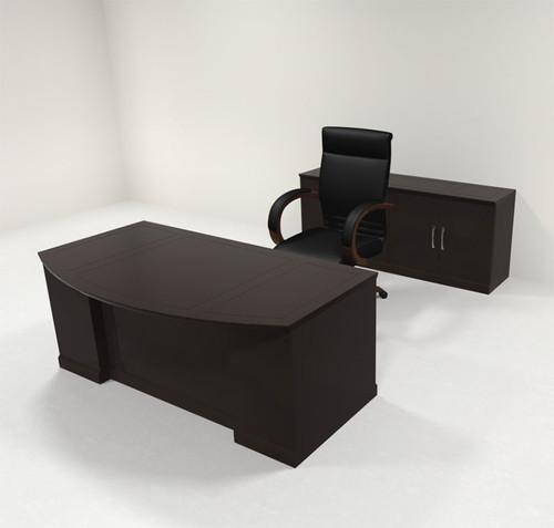4pc Traditional Bow Front Modern Executive Office Desk Set, #RO-SOR-D8
