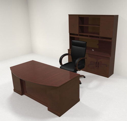 5pc Traditional Bow Front Modern Executive Office Desk Set, #RO-SOR-D9