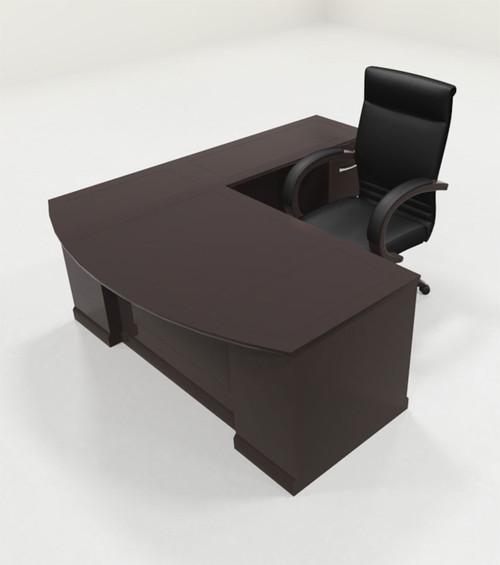 4pc Traditional Modern L Shaped Executive Office Desk Set, #RO-SOR-L2