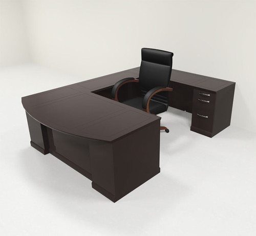 5pc Traditional Modern U Shaped Executive Office Desk Set, #RO-SOR-U2