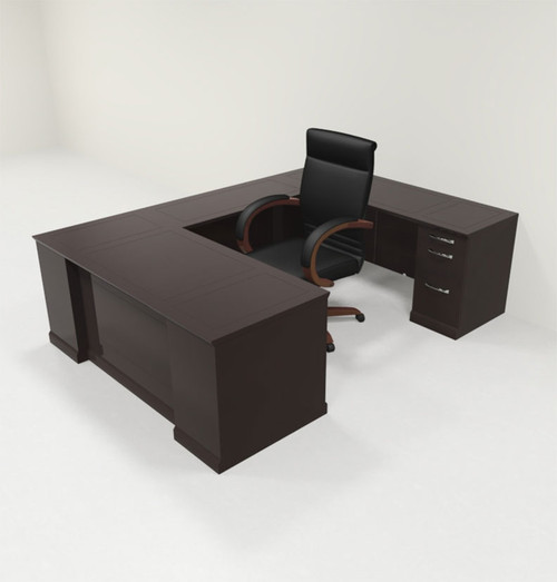 5pc Traditional Modern U Shaped Executive Office Desk Set, #RO-SOR-U4