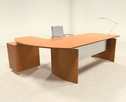 2pc Modern Contemporary L Shape Executive Office Desk Set, #RO-NAP-L1