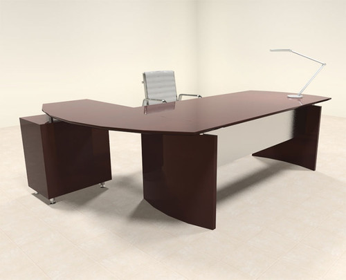 2pc Modern Contemporary L Shape Executive Office Desk Set, #RO-NAP-L3