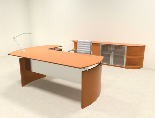 5pc Modern Contemporary L Shape Executive Office Desk Set, #RO-NAP-L7