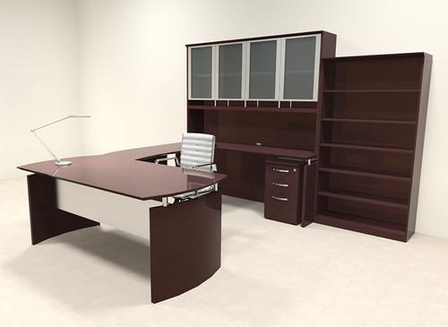 6pc Modern Contemporary U Shape Executive Office Desk Set, #RO-NAP-U15