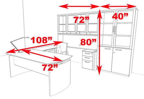 6pc Modern Contemporary U Shape Executive Office Desk Set, #RO-NAP-U7