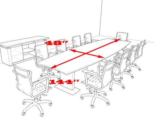 Modern Contemporary Boat Shaped 12' Feet Conference Table, #MT-STE-C11