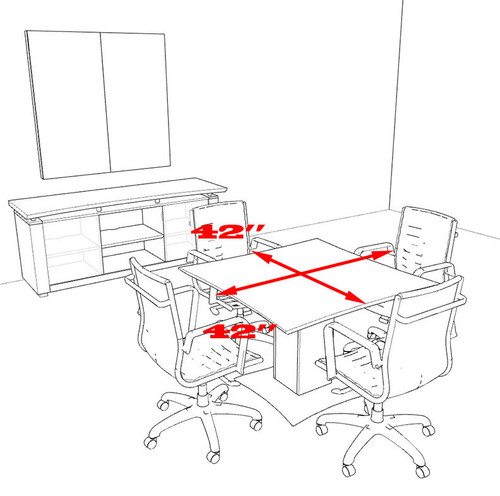 """Modern Contemporary 42"""" Square Conference Table, #MT-STE-C3"""