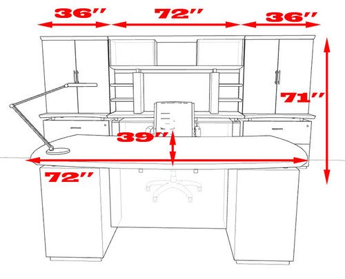 7pc Modern Contemporary Executive Office Desk Set, #MT-STE-D11