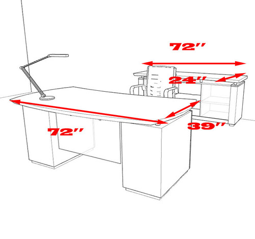 4pc Modern Contemporary Executive Office Desk Set, #MT-STE-D4