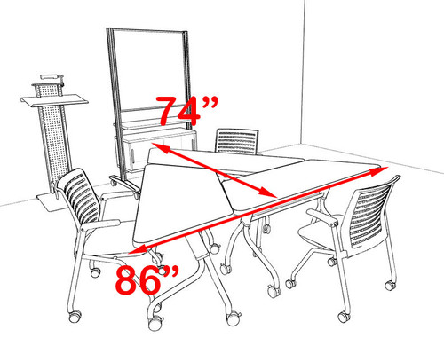 3pcs Triangle Shape Training / Conference Table Set, #MT-SYN-LT11