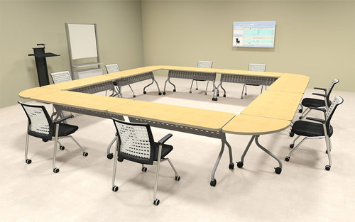 8pcs Square Shape Training / Conference Table Set, #MT-SYN-LT15