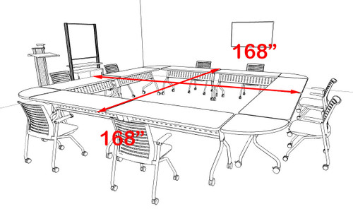 8pcs Square Shape Training / Conference Table Set, #MT-SYN-LT17