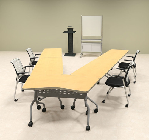 5pcs V Shape Training / Conference Table Set, #MT-SYN-LT21