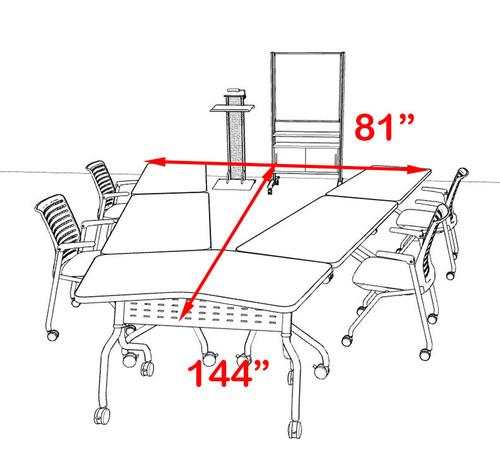 5pcs V Shape Training / Conference Table Set, #MT-SYN-LT22