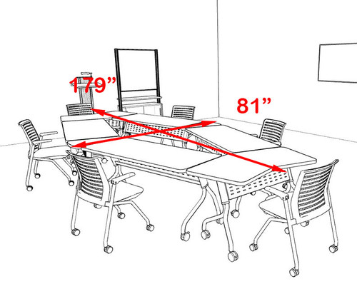 6pcs Diamond Shape Training / Conference Table Set, #MT-SYN-LT27