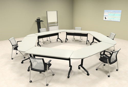 6pcs Hexagon Shape Training / Conference Table Set, #MT-SYN-LT37