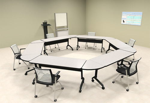 6pcs Hexagon Shape Training / Conference Table Set, #MT-SYN-LT38
