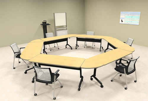 6pcs Hexagon Shape Training / Conference Table Set, #MT-SYN-LT39