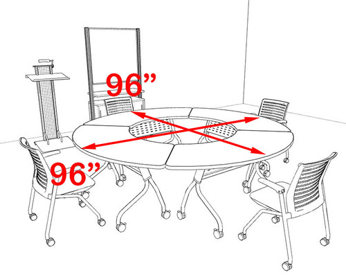 4pcs Round Shape Training / Conference Table Set, #MT-SYN-LT4
