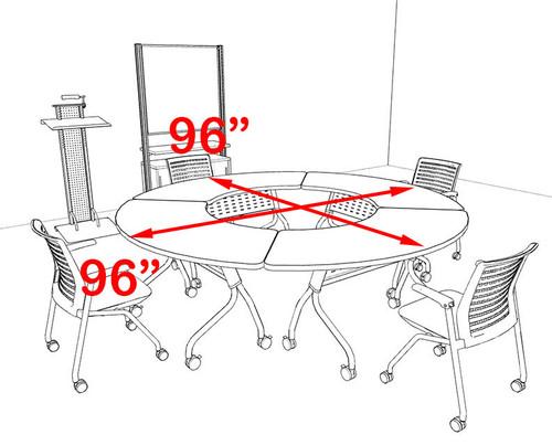 4pcs Round Shape Training / Conference Table Set, #MT-SYN-LT4