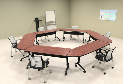 6pcs Hexagon Shape Training / Conference Table Set, #MT-SYN-LT40