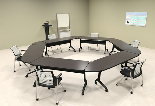 6pcs Hexagon Shape Training / Conference Table Set, #MT-SYN-LT41