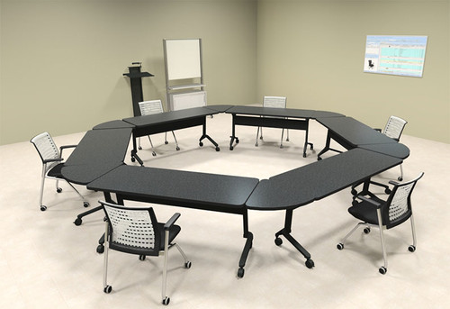6pcs Hexagon Shape Training / Conference Table Set, #MT-SYN-LT42