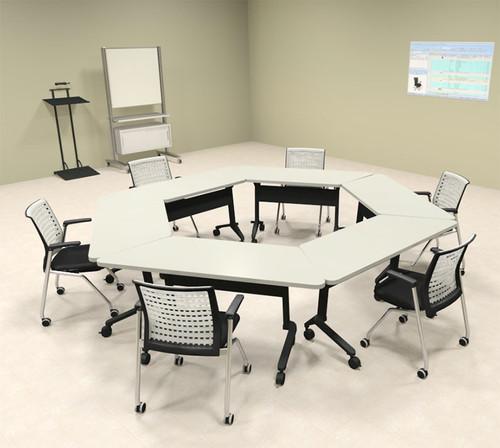 6pcs Hexagon Shape Training / Conference Table Set, #MT-SYN-LT43