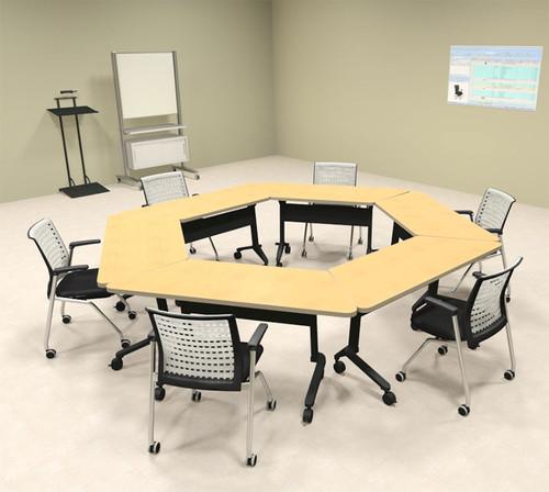 6pcs Hexagon Shape Training / Conference Table Set, #MT-SYN-LT45
