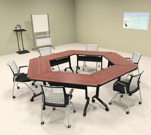 6pcs Hexagon Shape Training / Conference Table Set, #MT-SYN-LT46