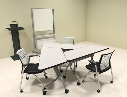 3pcs Triangle Shape Training / Conference Table Set, #MT-SYN-LT8