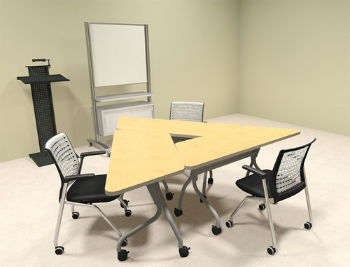 3pcs Triangle Shape Training / Conference Table Set, #MT-SYN-LT9