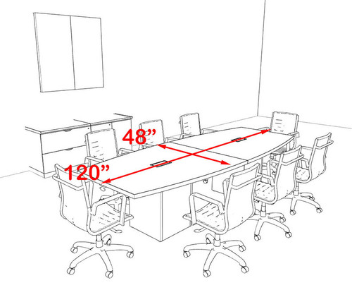 Modern Boat Shaped Cube Leg 10' Feet Conference Table, #OF-CON-CQ21