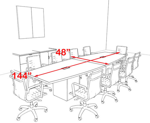 Modern Boat Shaped Cube Leg 12' Feet Conference Table, #OF-CON-CQ28