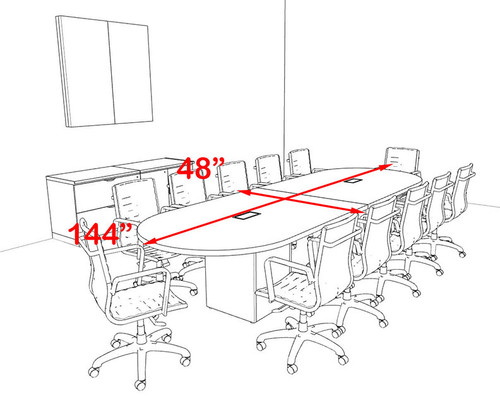 Modern Racetrack Cube Leg 12' Feet Conference Table, #OF-CON-CQ9