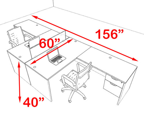 Two Person Blue Divider Office Workstation Desk Set, #OT-SUL-FPB40