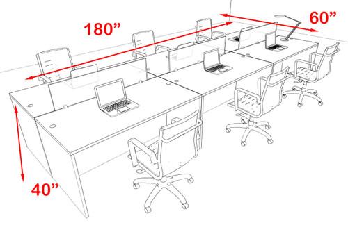 Six Person Modern Blue Divider Office Workstation Desk Set, #OT-SUL-FPB9