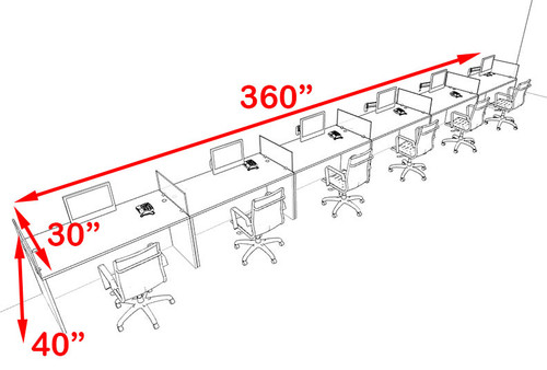 Six Person Blue Divider Office Workstation Desk Set, #OT-SUL-SPB17