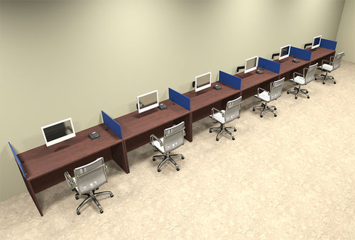 Six Person Blue Divider Office Workstation Desk Set, #OT-SUL-SPB18